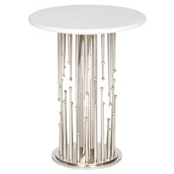 Barry Goralnick Vittorio Regency Brass Nickel Burst End Table | Kathy Kuo Home