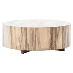 Barthes Rustic Lodge Round Natural Wood Block Coffee Table | Kathy Kuo Home
