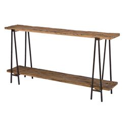 Bartlett Rustic Lodge Wood Metal Rectangle Console Table | Kathy Kuo Home
