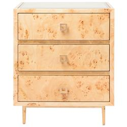 Bartok Hollywood Regency Burl Wood Gold Leaf Nightstand | Kathy Kuo Home