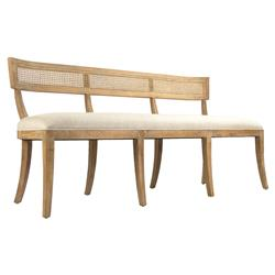 Bavette French Country Cream Linen Limed Oak Cane Back Dining Bench | Kathy Kuo Home