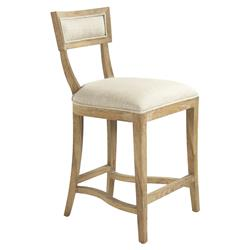 Bavette French Country Cream Linen Limed Oak Counter Stool | Kathy Kuo Home