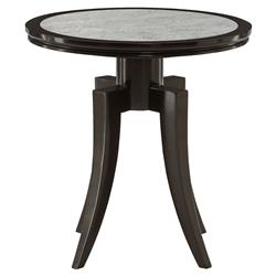 Bay Modern Classic Round Dark Wood Antique Mirror Top End Table | Kathy Kuo Home