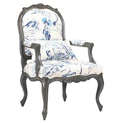 Bayonne French Country Blue Geisha Upholstered Arm Chair | Kathy Kuo Home