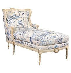 Bayonne French Country Blue Geisha Upholstered Chaise Lounge | Kathy Kuo Home