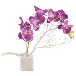 Bazaar Purple Asian Orchid White Marble Faux Floral | Kathy Kuo Home