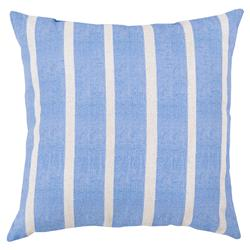 Beach Bright Blue Striped Outdoor Pillow - 18x18 | Kathy Kuo Home