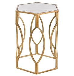 Belafonte Hollywood Regency Gold Antique Mirror Hexagon Side Table | Kathy Kuo Home