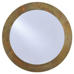Belding Modern Classic Striated Antique Brass Round Wall Mirror | Kathy Kuo Home