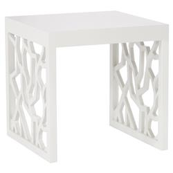 Bella Modern Classic Wood Snow White Square Side End Table | Kathy Kuo Home