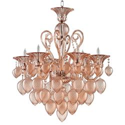 Bella Vetro 6 Light Pale Blush Murano Style Glass Chandelier | Kathy Kuo Home