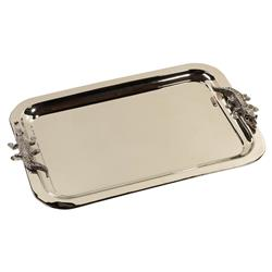 Belmont Modern Classic Polished Stainless Steel Crocodile Adorned Serving Tray | Kathy Kuo Home