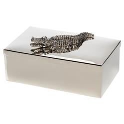 Belmont Modern Classic Stainless Steel Crocodile Adorned Decorative Box | Kathy Kuo Home