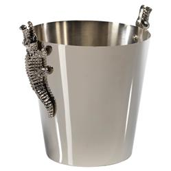 Belmont Modern Classic Stainless Steel Crocodile Adorned Ice Bucket Wine Cooler | Kathy Kuo Home