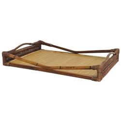 Benilde Global Bazaar Geographic Woven Rattan Tray | Kathy Kuo Home