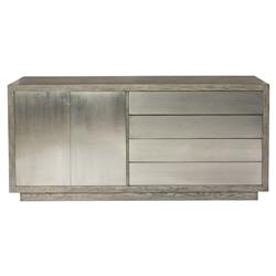 Benitez Modern Rustic Grey Wood Tarnished Nickel Buffet | Kathy Kuo Home