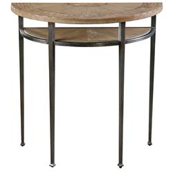 Bennie Industrial Iron Chestnut Patterned Console Table | Kathy Kuo Home