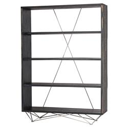 Bentley Industrial Black Oak Stainless Steel Leg Bookshelf | Kathy Kuo Home