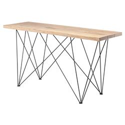 Bentley Industrial Raw Oak Stainless Steel Leg Console Table | Kathy Kuo Home
