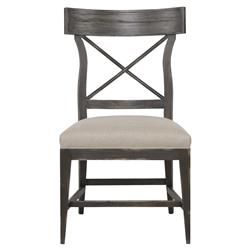 Benton Rustic Flax Linen Cross Back Side Chair | Kathy Kuo Home