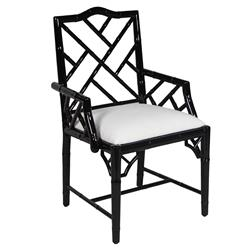 Berkshire Regency Lacquer Chippendale Armchair - Black | Kathy Kuo Home