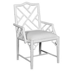 Berkshire Regency Lacquer Chippendale Armchair - White | Kathy Kuo Home