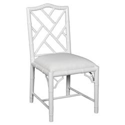 Berkshire Regency Laquer Chippendale Side Chair - White | Kathy Kuo Home