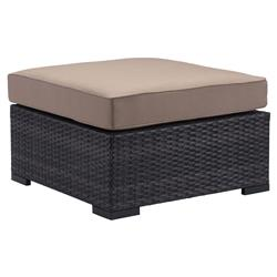 Bernard Modern Classic Weaved Performance Fabric Outdoor Ottoman | Kathy Kuo Home