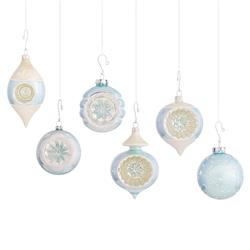 Berry Mid-Century Pastel Blue & White Vintage Glass Ornaments - Set of 12 | Kathy Kuo Home