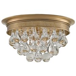 Bess Modern Classic Antique Brass Glass Bubble Drop Ceiling Mount | Kathy Kuo Home