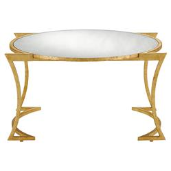 Bette Regency Curved Gold Leaf Mirrored Coffee Table | Kathy Kuo Home