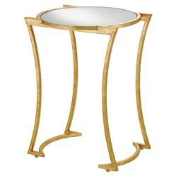 Bette Regency Curved Gold Leaf Mirrored End Table | Kathy Kuo Home