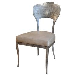 Beverly Oly Antique Silver Grey Leather Side Chair | Kathy Kuo Home