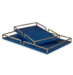 Bianca Blue and Gold Hollywood Serving Tray | Kathy Kuo Home