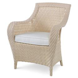Bismark Ivory Woven Sand Outdoor Dining Armchair | Kathy Kuo Home