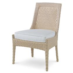Bismark Ivory Woven Sand Side Outdoor Dining Chair | Kathy Kuo Home
