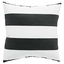 Black Striped Modern Classic Outdoor Pillow - 18x18 | Kathy Kuo Home