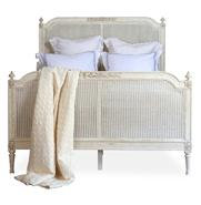 Blanka French Country White Washed Elegant Caned King Bed