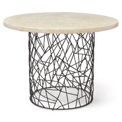 Bleeker Industrial Pacific Mactan Stone Round Dining Bistro Table | Kathy Kuo Home