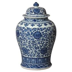 Blue Ceramic Bazaar White Temple Jar - 24H | Kathy Kuo Home
