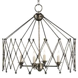 Boden Industrial Loft Bronze Orb Accordion Chandelier | Kathy Kuo Home