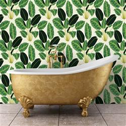 Bold Green Leaves Removable Wallpaper | Kathy Kuo Home