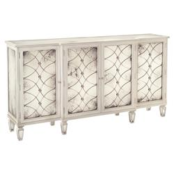 Bonet Hollywood Regency Grillwork Antique White Mirrored Sideboard Buffet