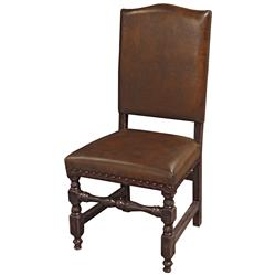 Bonington Rustic Lodge Vintage Brown Leather Bobbin Dining Chair | Kathy Kuo Home