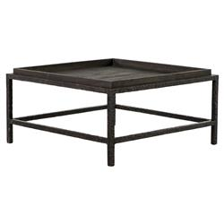 Bonner Industrial Loft Dark Grey Wood Square Iron Bunching Coffee Table | Kathy Kuo Home
