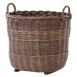 Borocay Coastal Beach Rustic Style Brown Wicker Floor Basket | Kathy Kuo Home