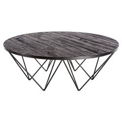 Bosco Industrial Lodge Black Brown Round Iron Spider Leg Coffee Table | Kathy Kuo Home