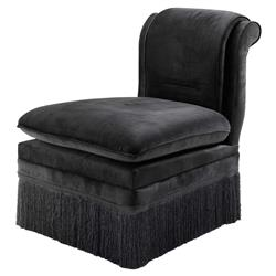 Boucheron Hollywood Regency Black Fringe Upholstered Chair | Kathy Kuo Home