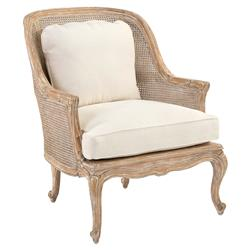Bourges French Caned Bergere Ivory Upholstered Armchair | Kathy Kuo Home