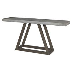 Bourne Industrial Stone Triangle Outdoor Console Table | Kathy Kuo Home